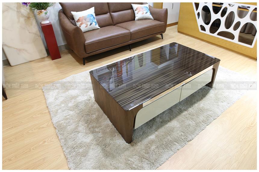 bàn trà gỗ mặt kính